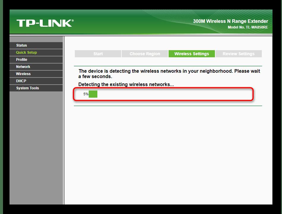 Процесс сканирования доступных сетей при быстрой настройке усилителя TP-Link TL-WA850RE v1.2