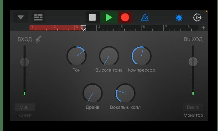 Процесс записи звука в приложении GarageBand для iPhone