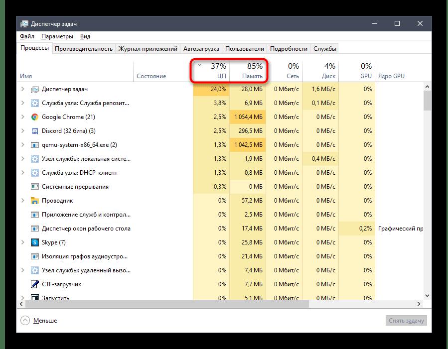 Сортировка по нагрузке на процессор и память при решении проблемы с черным экраном при демонстрации в Discord на компьютере
