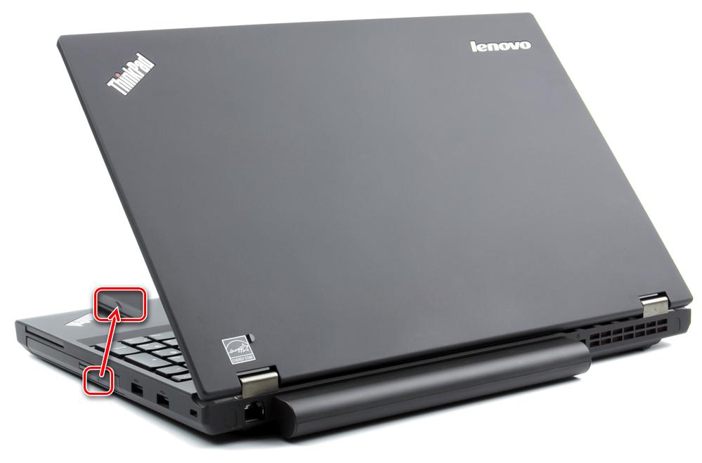 Углубленная кнопка аварийного извлечения лотка привода у ноутбука Lenovo