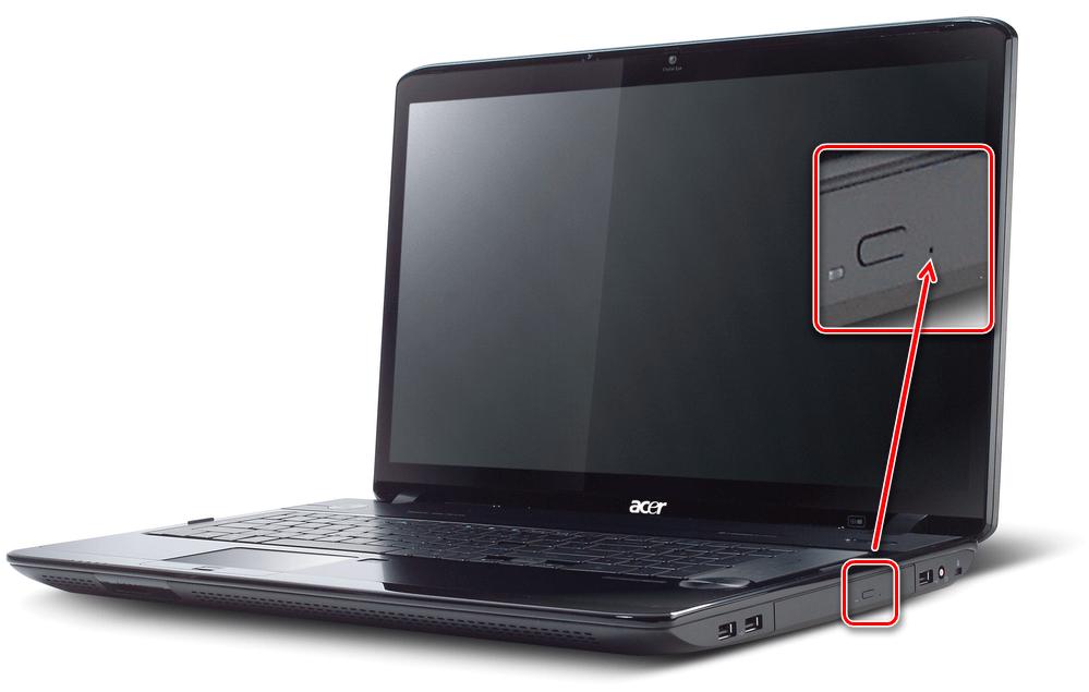 Углубленная кнопка аварийного открытия дисковода у ноутбука Acer в корпусе