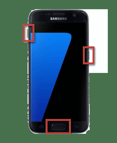 Вход в Recovery Mode на Samsung с кнопкой home