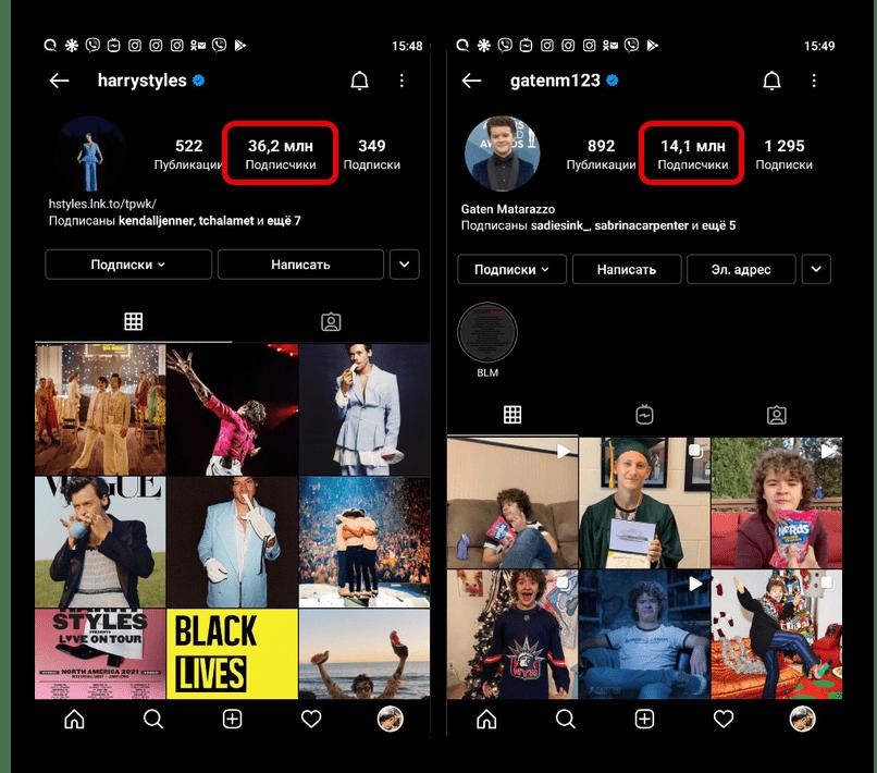 Пример раскрученных пользователей в приложении Instagram
