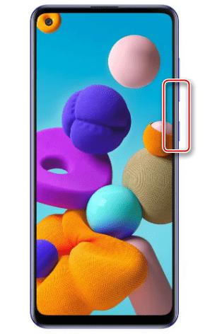 Создание скриншота с помощью клавиш на Samsung A21s