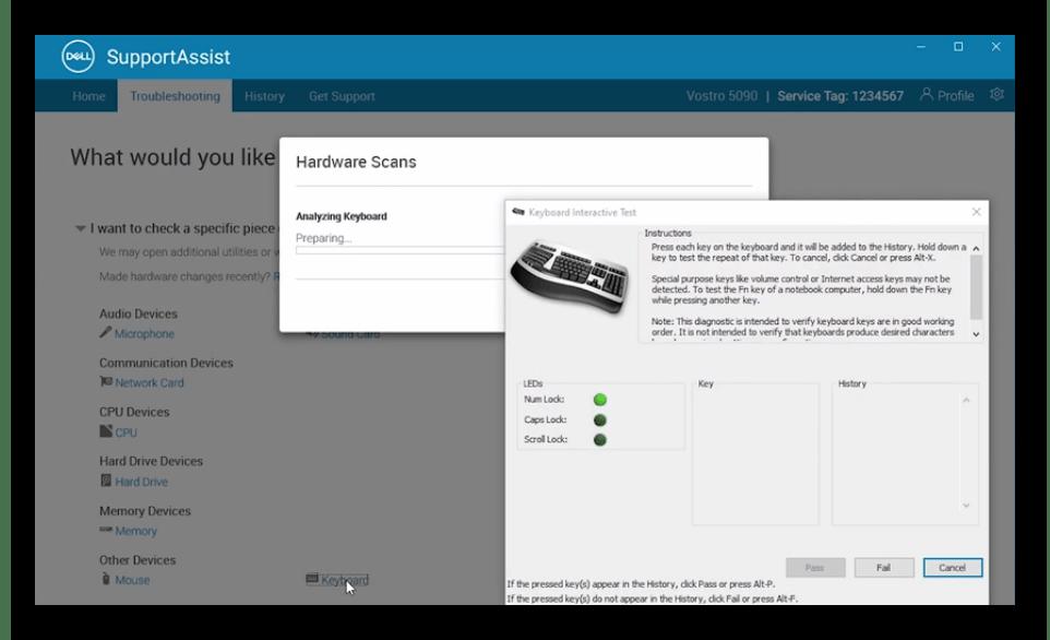 Утилита проверки работоспособности клавиатуры через фирменную программу SupportAssist ноутбука Dell