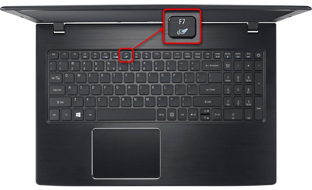 Включение тачпада ноутбука Acer через сочетание клавиш на клавиатуре