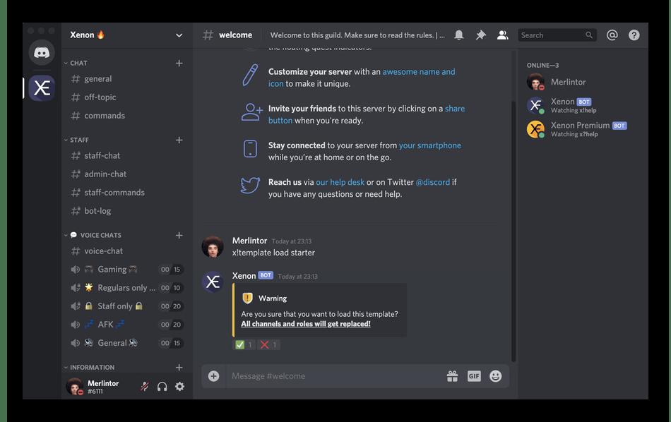 Использование бота Xenon для администрирования собственного сервера в Discord
