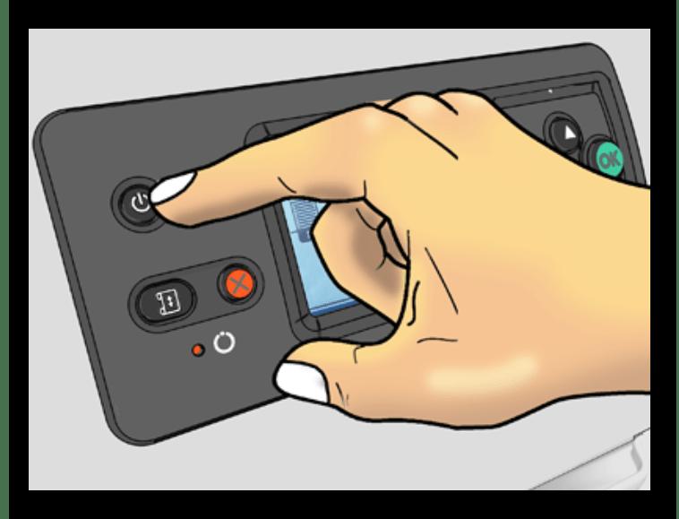 Использование кнопки включения-выключения для штатной перезагрузки принтера