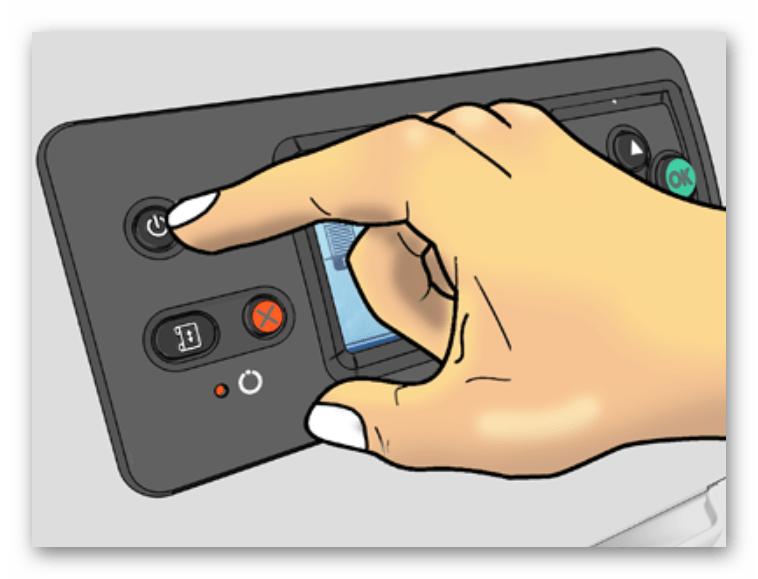 Использование кнопки выключения для перезагрузки принтеров от Brother
