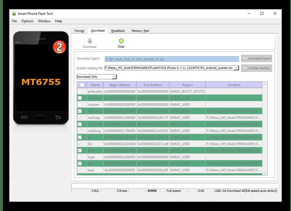 Meizu M5 Note момент подключения смартфона к ПК для инсталляции прошивки через SP Flash Tool