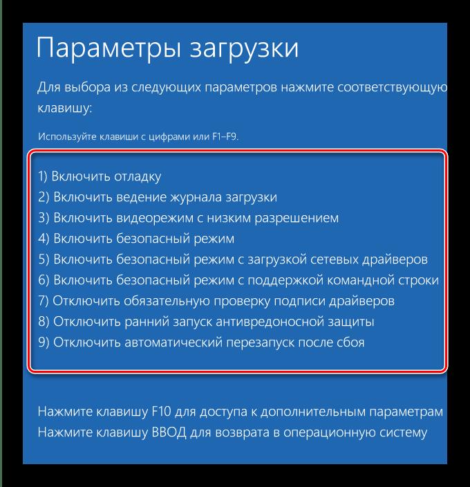 Параметры загрузки системы в окне System Recovery Options в Windows 10