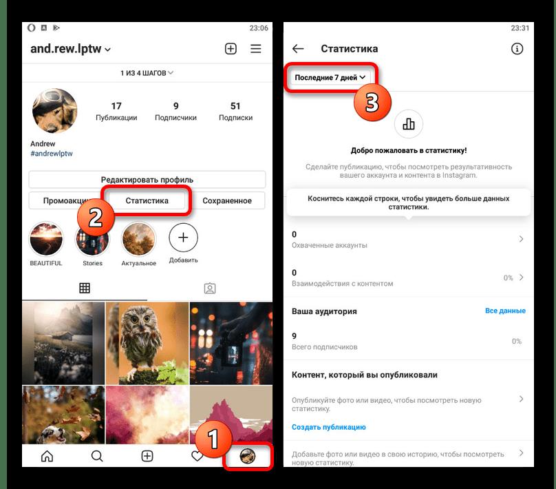 Пример просмотра статистики бизнес-аккаунта в мобильном приложении Instagram