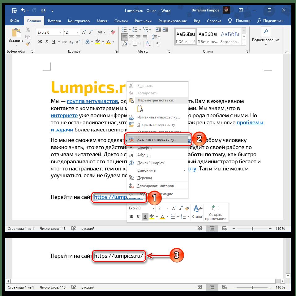 Результат удаления адреса из ссылки в документе Microsoft Word