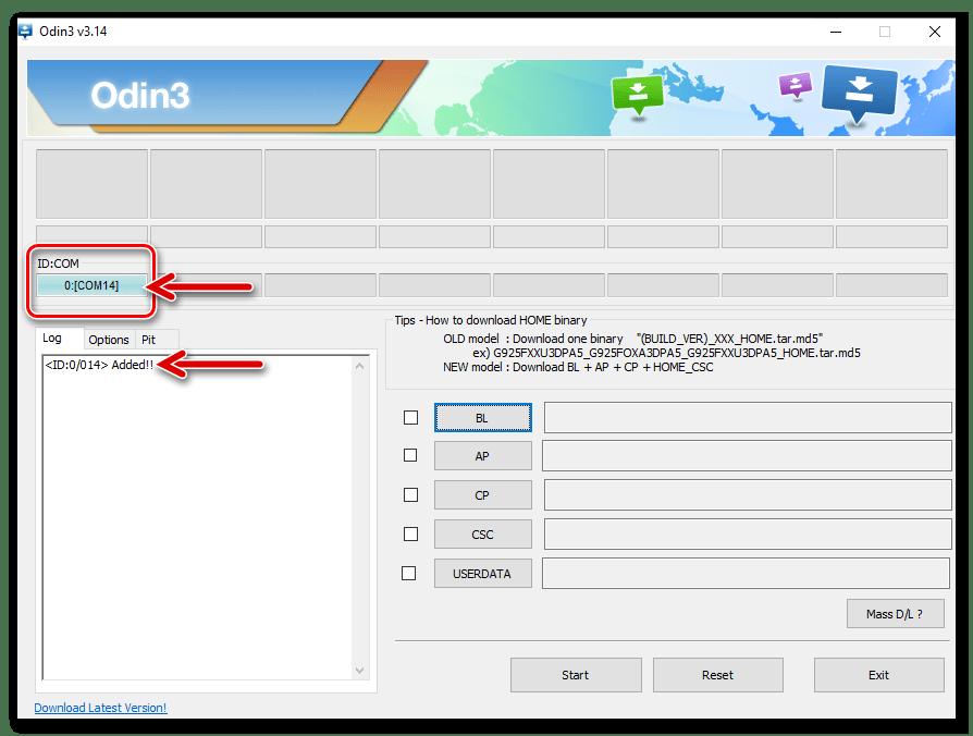Samsung Galaxy S5 (SM-G900FD) подключение девайса в режиме Download к программе Odin для установки пакета, активирующего рут-права