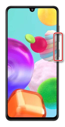 Создание скриншота с помощью комбинации клавиш на Samsung A41