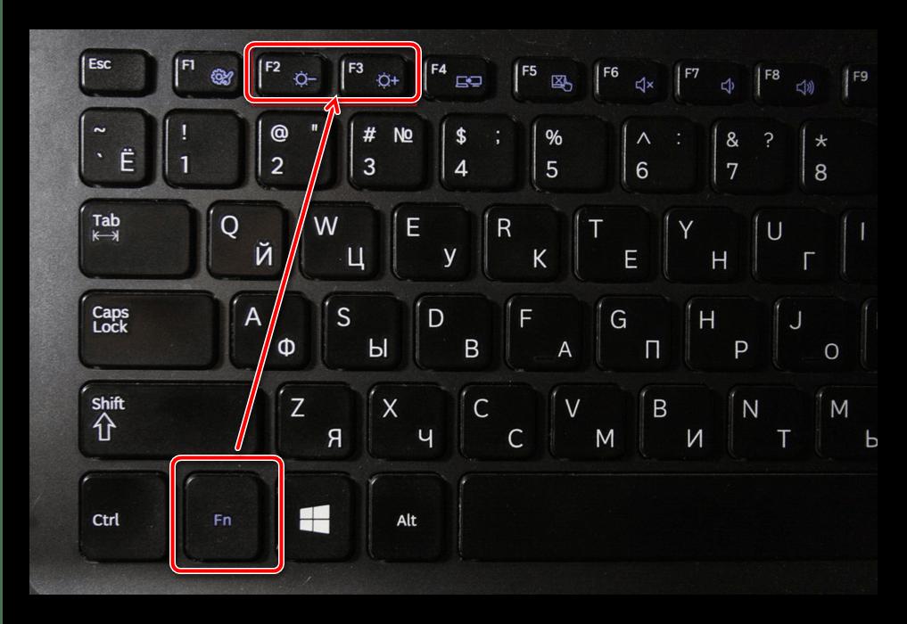 Воспользоваться комбинацией клавиш для решения проблемы туского экрана на ноутбуке