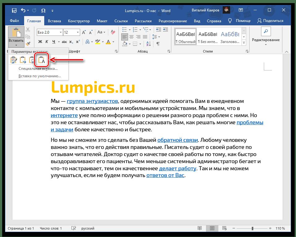 Вставка скопированного текста, но уже без ссылок в документе Microsoft Word