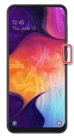 Вызов меню выключения устройства Samsung A50