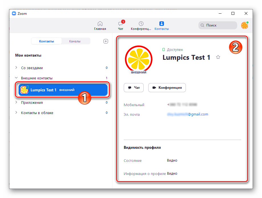 Zoom для Windows запрос на добавление в Контакты принят другим пользователем - просмотр его данных в программе