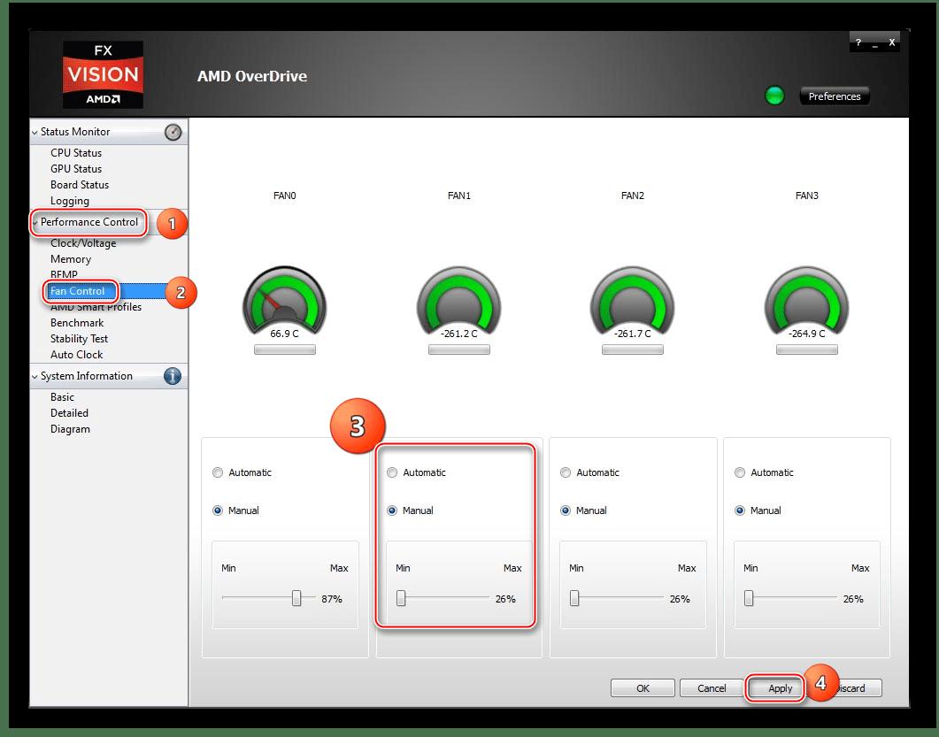 Настроить кулеры в программе AMD Overdrive, если в компьютере не работают вентиляторы