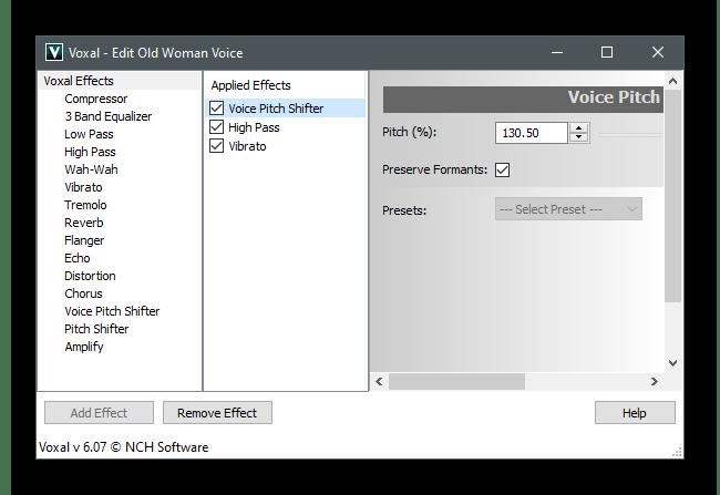 Настройки эффекта для изменения голоса в Discord через Voxal Voice Changer