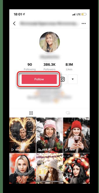 Нажатие кнопки Подписаться для подписки в Тик Ток через страницу аккаунта
