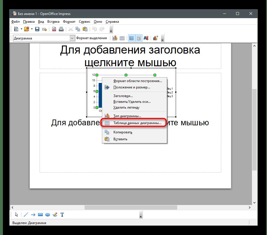 Открытие меню редактирования таблицы данных для создания диаграммы в процентах в OpenOffice Impress
