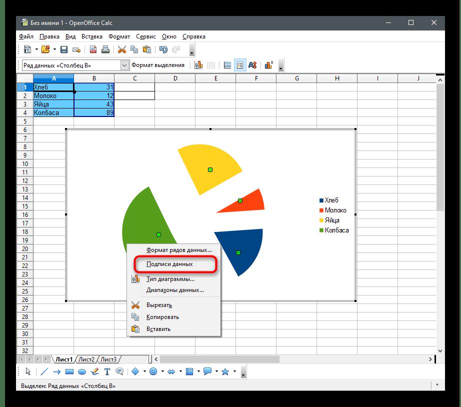 Отображение значений для создания круговой диаграммы в OpenOffice Calc