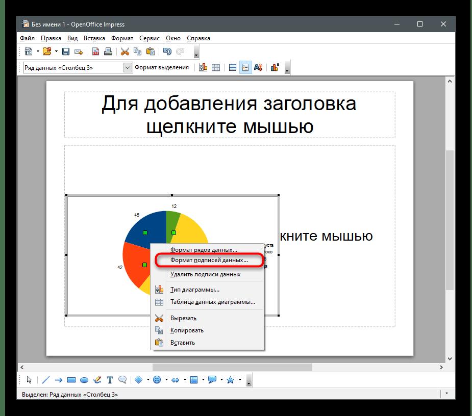 Переход изменению отображения числовых значений для создания диаграммы в процентах в OpenOffice Impress