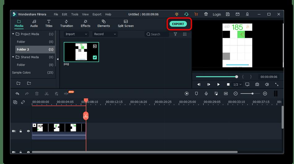 Переход к экспорту ролика для обрезки видео на компьютере через Wondershare Filmora