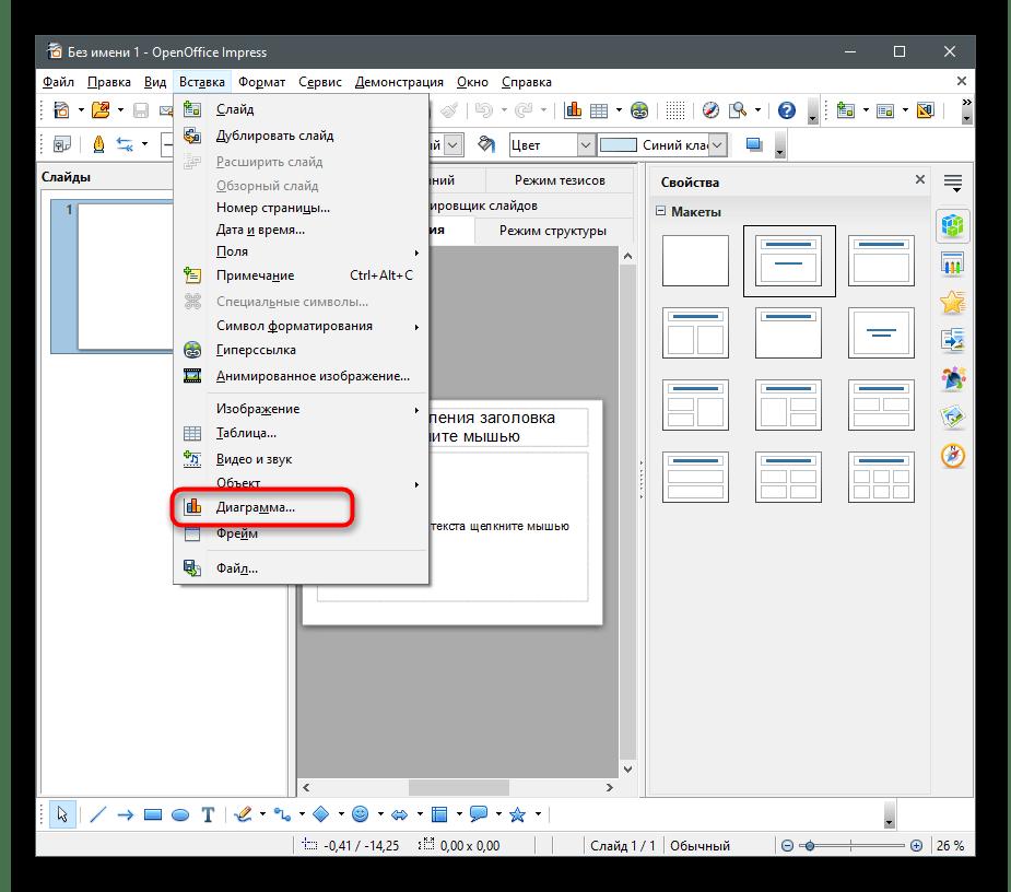 Переход к вставке объекта для создания круговой диаграммы в OpenOffice Impress
