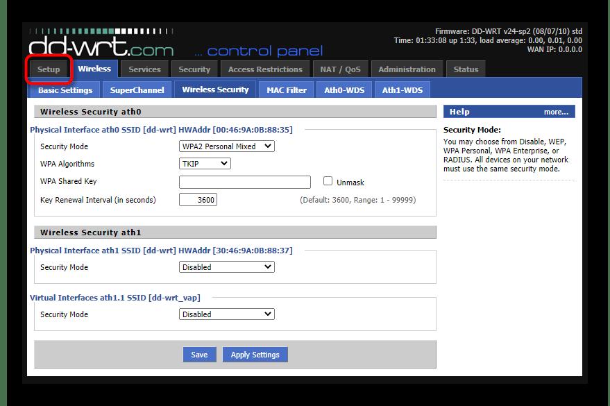 Переход на вкладку настройки подключения для настройки роутеров с прошивкой DD WRT в режиме репитера