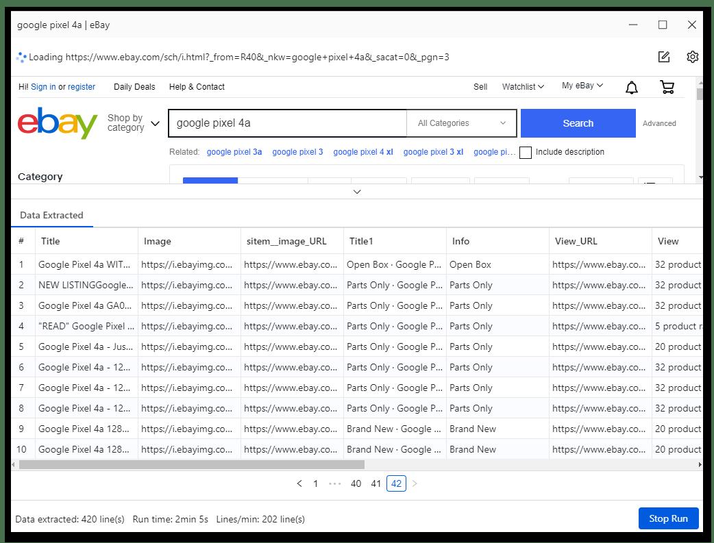 Процесс выполнения созданной задачи в программе для веб-скрейпинга данных Octoparse