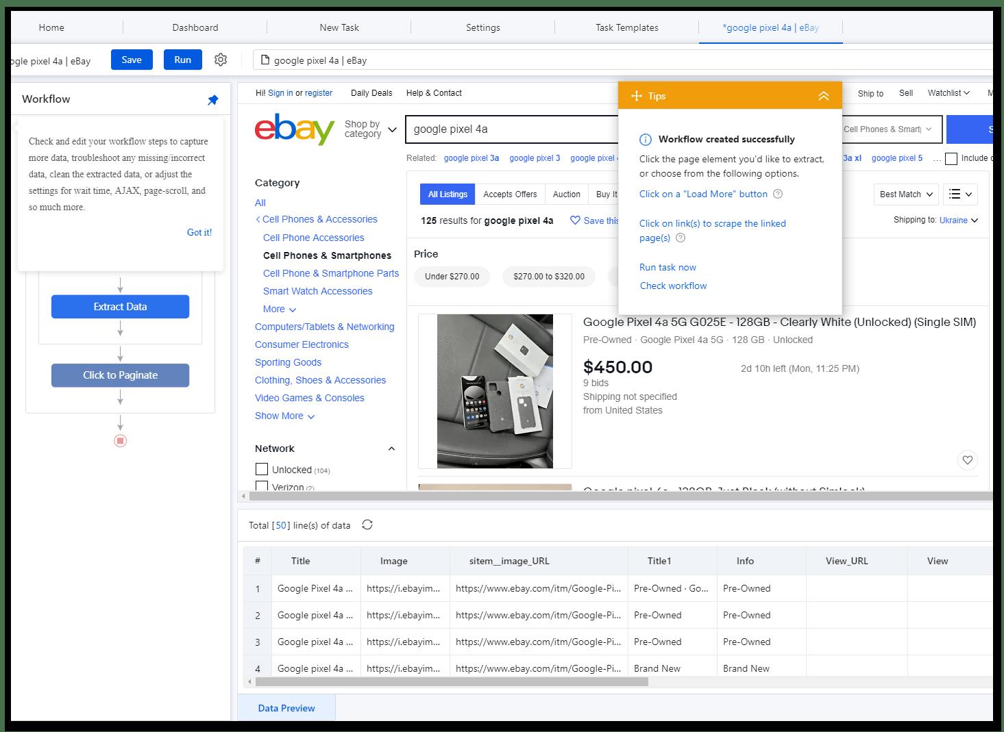 Рабочий процесс в программе для веб-скрейпинга данных Octoparse