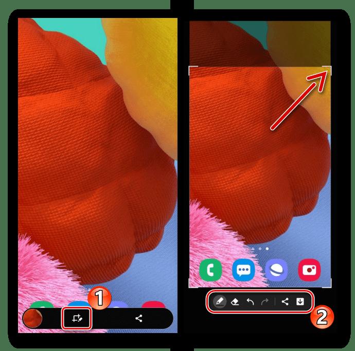 Редактирование скриншота на Samsung A51