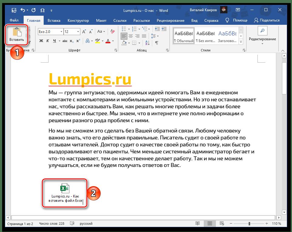 Результат обычной вставки файла с таблицей Excel в текстовый документ Word