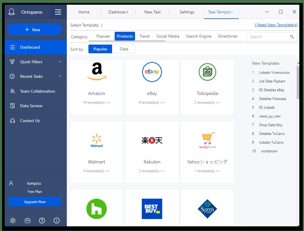 Шаблоны для работы с интернет-магазинами и торговыми площадками в программе для веб-скрейпинга данных Octoparse