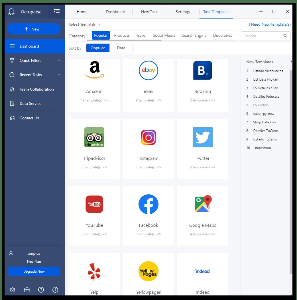 Шаблоны для работы с популярными сайтами в программе для веб-скрейпинга данных Octoparse