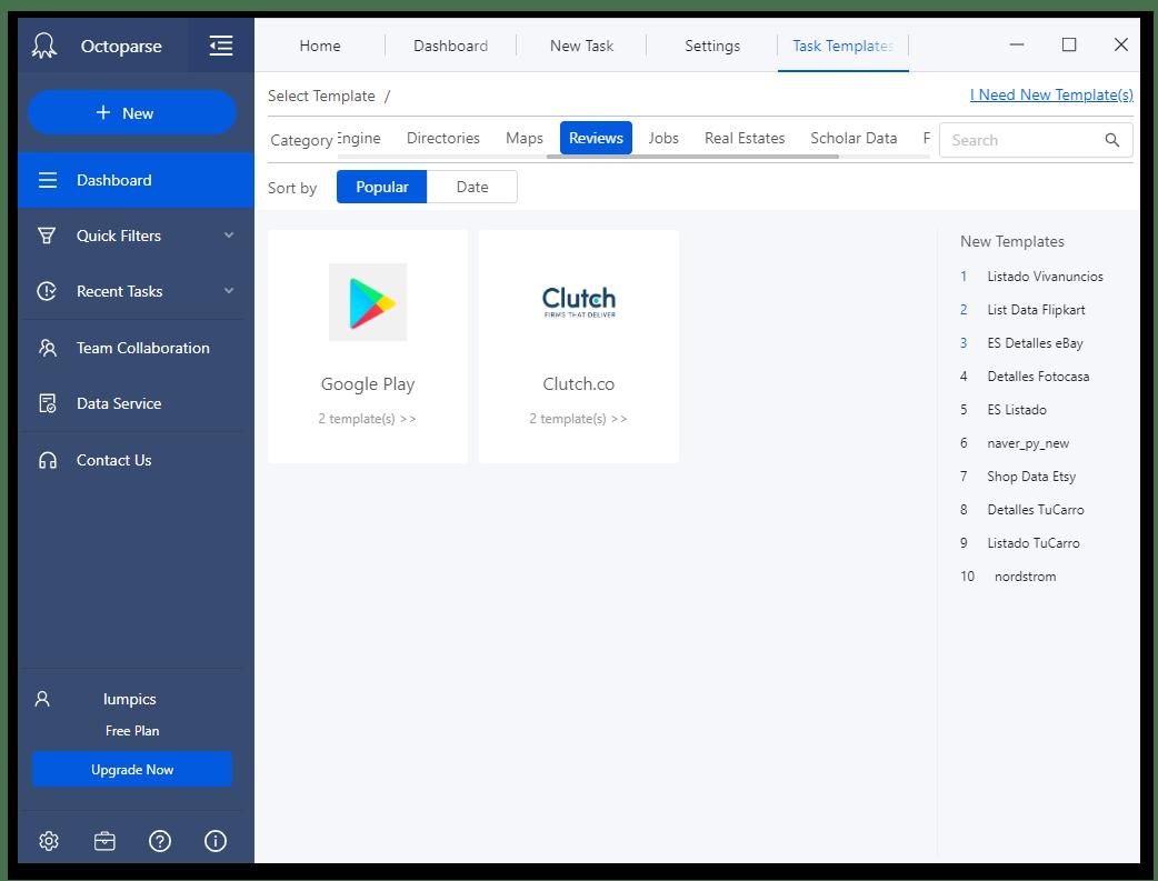 Шаблоны категории обзоры в программе для веб-скрейпинга данных Octoparse