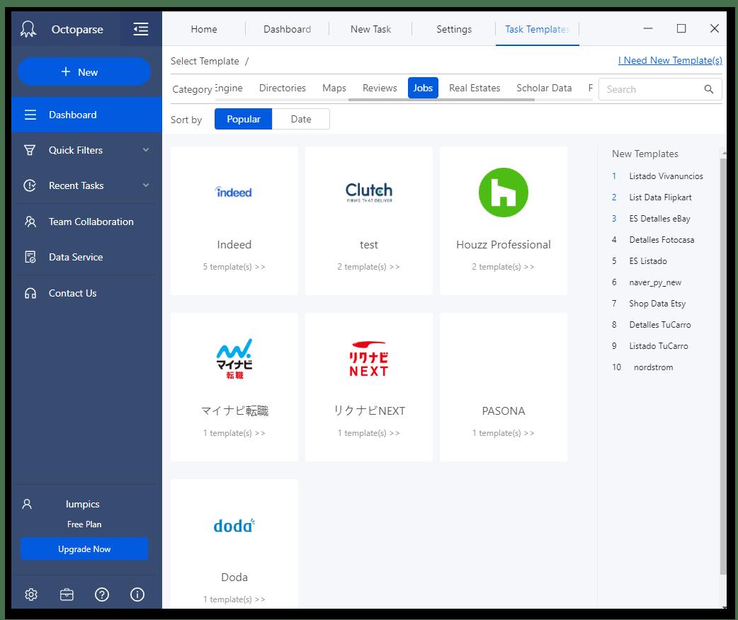Шаблоны категории работа в программе для веб-скрейпинга данных Octoparse