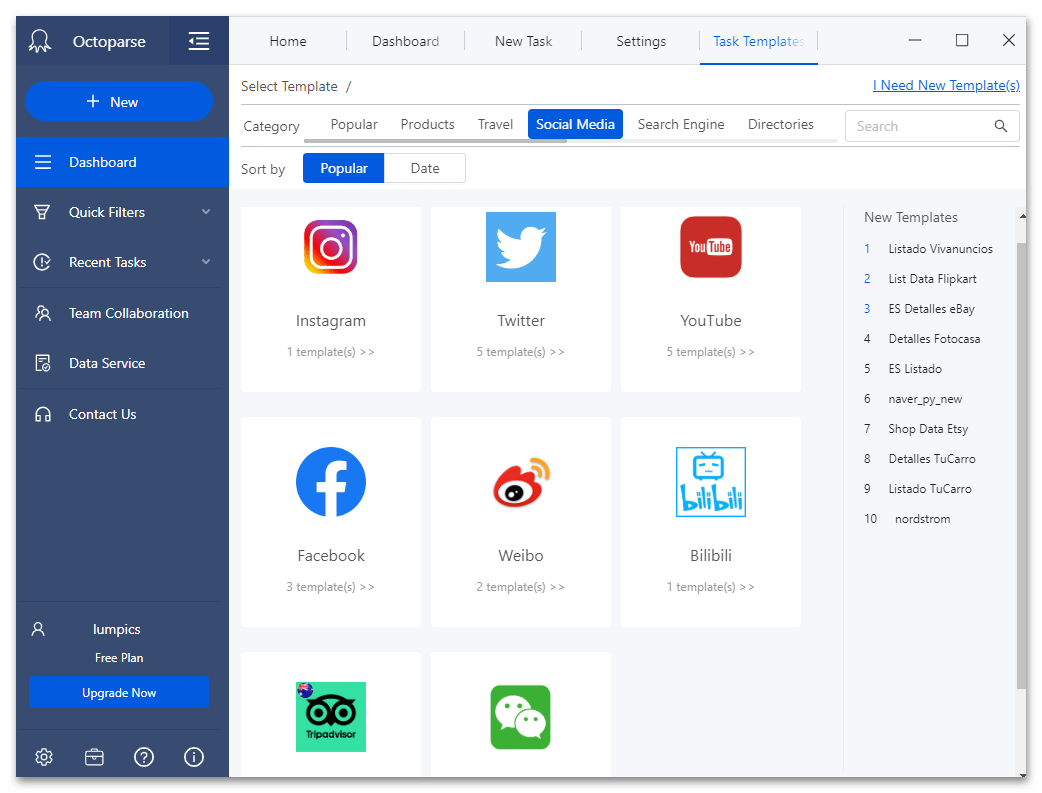 Шаблоны категории социальные сети и медиа в программе для веб-скрейпинга данных Octoparse