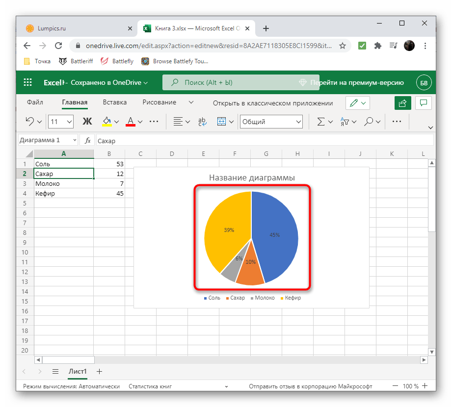 Успешное применение метки данных в Excel Онлайн для создания диаграммы в процентах на компьютере