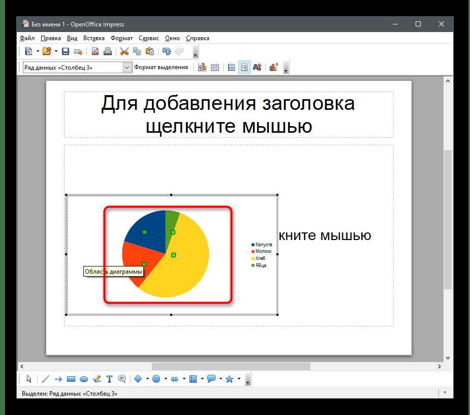 Успешное добавление объекта для создания круговой диаграммы в OpenOffice Impress