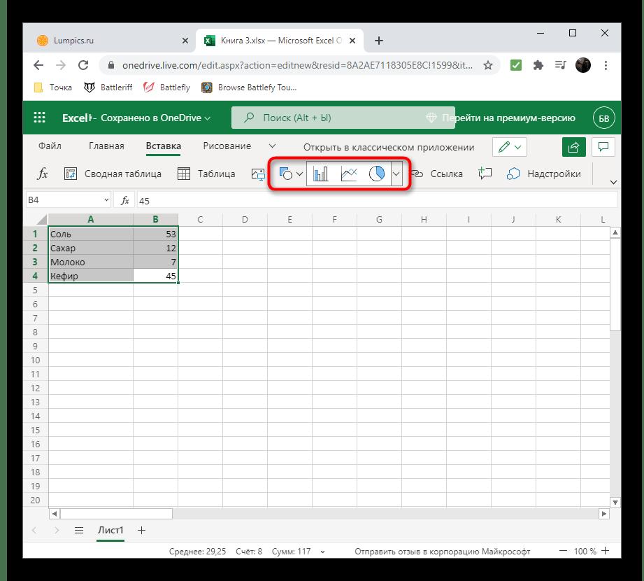 Выбор типа графика в Excel Онлайн для создания диаграммы в процентах на компьютере