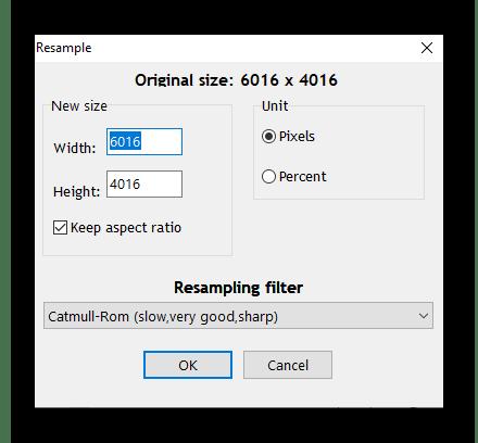 Изменение разрешения для создания фотографии маленького размера через RIOT