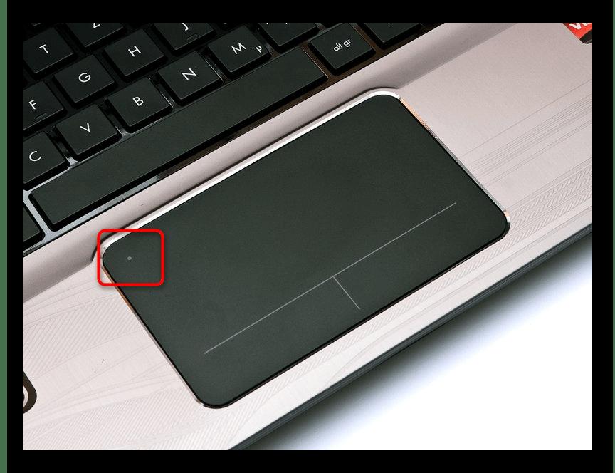 Кнопка для включения и отключения тачпада на самом тачпаде у ноутбука HP