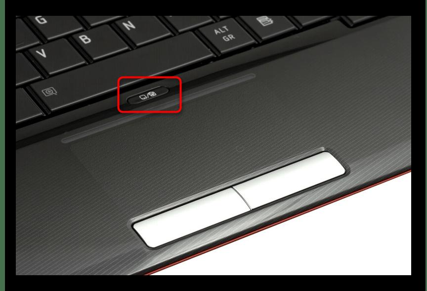 Кнопка для включения и отключения тачпада над тачпадом у ноутбука HP