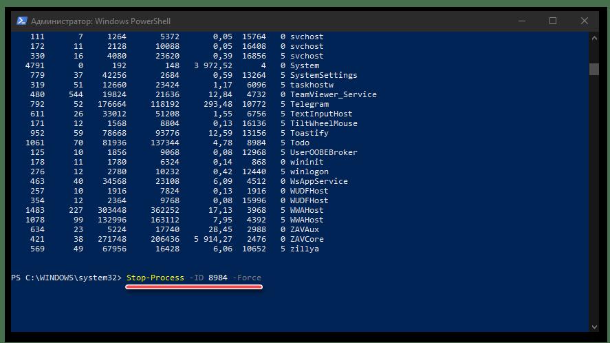 Команда для снятия задачи по номеру в PowerShell в ОС Windows 10