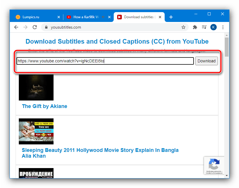Вставить адрес видеоролика для загрузки видео с субтитрами с YouTube посредством веб-сервиса