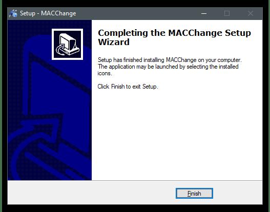 Запуск установщика для изменения MAC-адреса компьютера в Windows 10 через MACChange